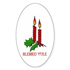 BLESSED YULE Oval Decal