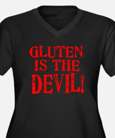 Gluten Is The Devil Women's Plus Size V-Neck Dark