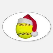 Softball Santa Oval Decal