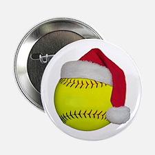 """Softball Santa 2.25"""" Button"""