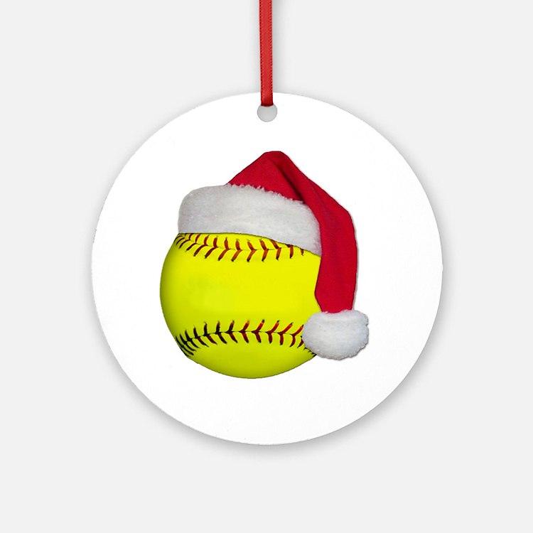 Softball Santa Ornament (Round)
