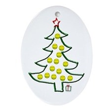 Softball tree Oval Ornament