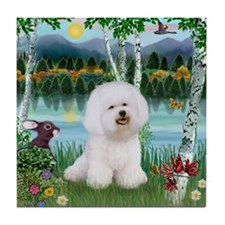 Bichon in the birches Tile Coaster
