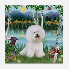 Bichon in the birches Tile Coaster