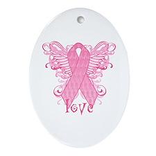Pink Ribbon Love Ornament (Oval)