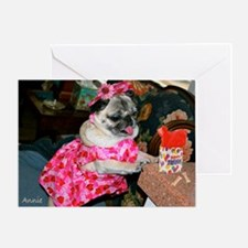 Annie in Pink Dress Birthday Greeting Card