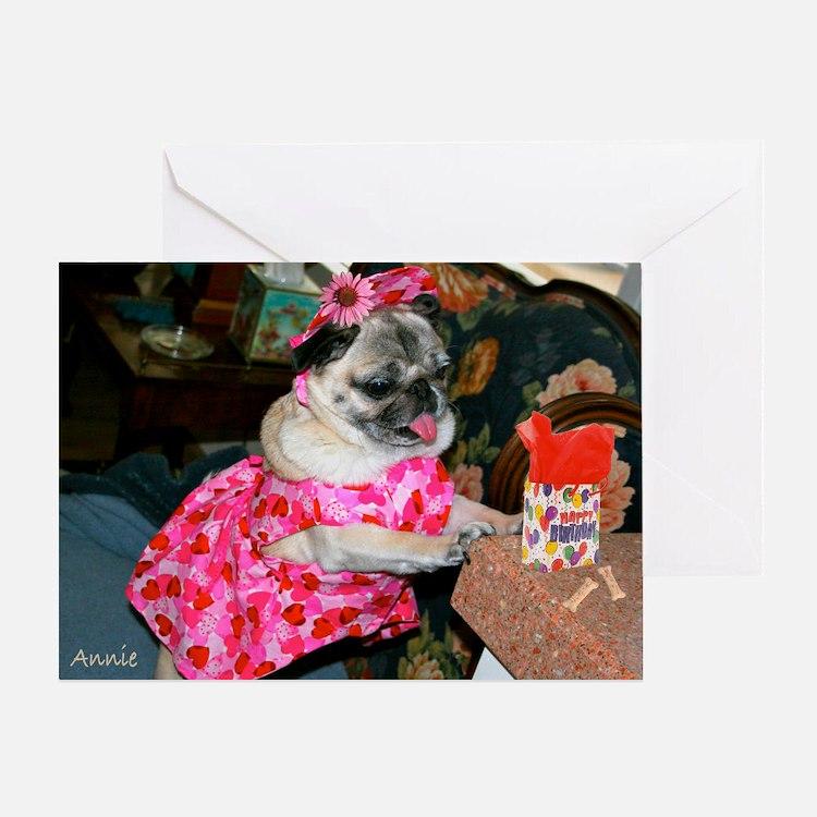 Annie in Pink Dress Birthday Greeting Card