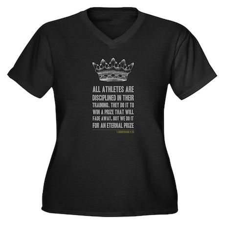 The Prize Women's Plus Size V-Neck Dark T-Shirt