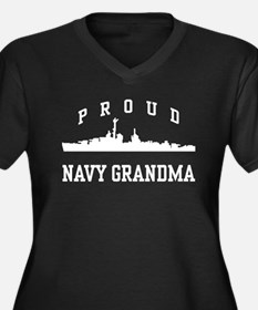 Proud Navy Grandma Women's Plus Size V-Neck Dark T