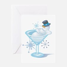 Snowman Martini Greeting Card