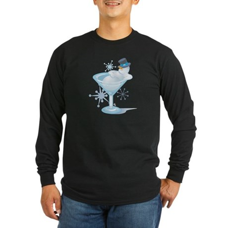 Snowman Martini Long Sleeve Dark T-Shirt
