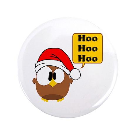 """Santa Owl 3.5"""" Button"""