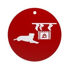 Not a Dog was Stirring Ornament (Round)