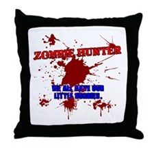 Funny Zombie hunter Throw Pillow