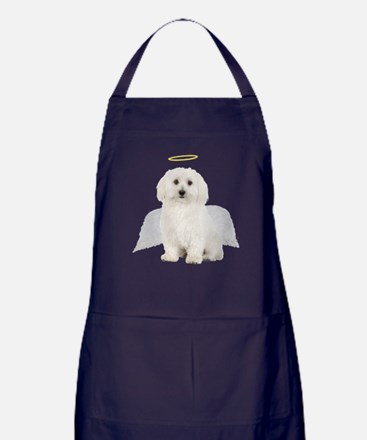 Angel Bichon Frise Apron (dark)