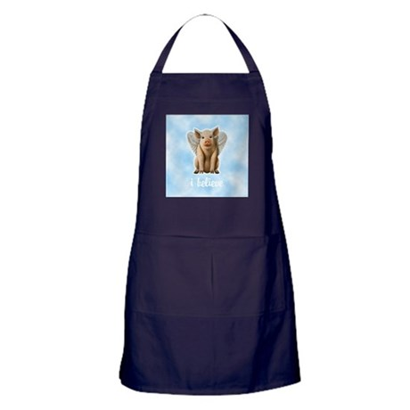 I Believe Flying Pig Apron (dark)