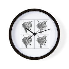 Grey Tiled Pitbull Wall Clock