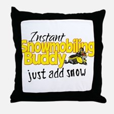 Instant Snowmobiling Buddy Throw Pillow
