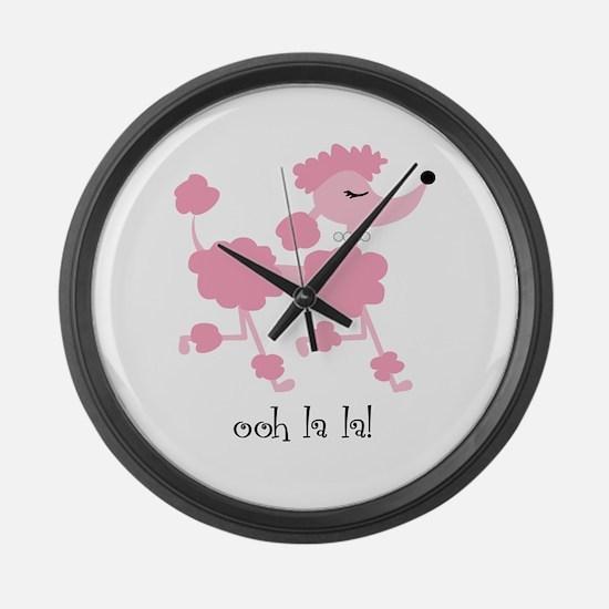 ooh la la poodle Large Wall Clock