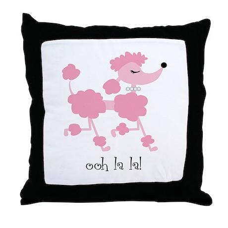ooh la la poodle Throw Pillow