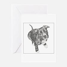 Grey Tile Pitbull Greeting Cards (Pk of 10)