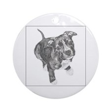 Grey Tile Pitbull Ornament (Round)