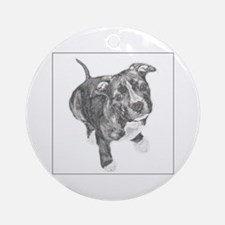 Grey Tile Pitbull Ornament (Round)