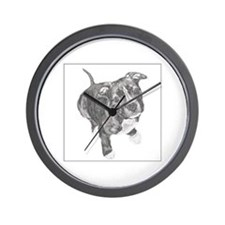 Grey Tile Pitbull Wall Clock