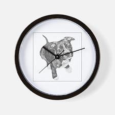 Grey Tile Pitbull Wall Clock
