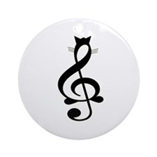 Jazz Cat Ornament (Round)