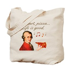 Mozart and Pizza: Music and food Tote Bag