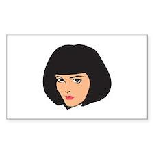 Lady Girl Femal Face Rectangle Sticker 10 pk)