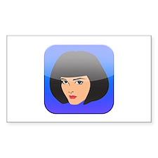 i App Lady Girl Femal Face Rectangle Sticker 10 p