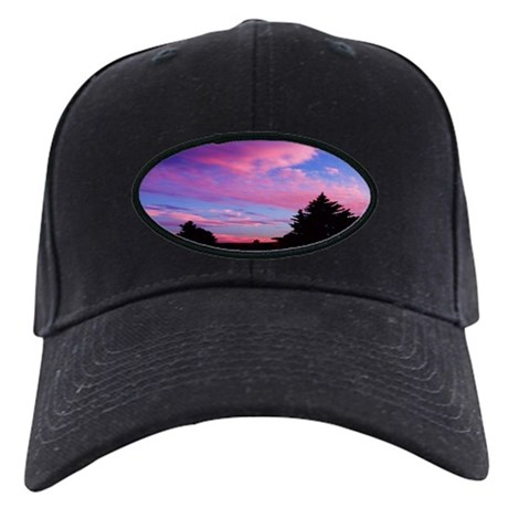 Pink Clouds And Trees Sunset Black Cap