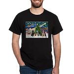 XmasMagic-6 Poodles Dark T-Shirt