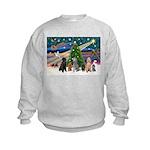 XmasMagic-6 Poodles Kids Sweatshirt