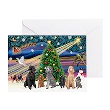 XmasMagic-6 Poodles Greeting Card