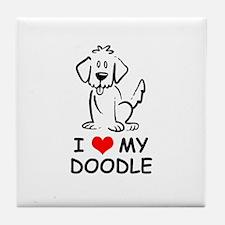 I Love My Doodle Tile Coaster