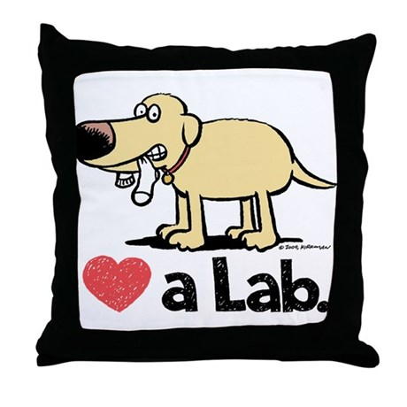 Love a Lab (Yellow)- Throw Pillow