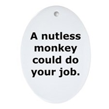 Nutless Monkey Oval Ornament