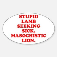 Lamb Seeks Lion Oval Decal
