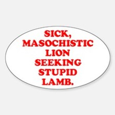 Lion Seeks Lamb Oval Decal