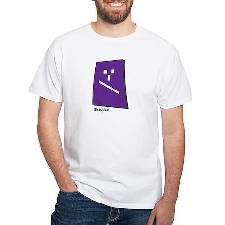 skeptical White T-Shirt