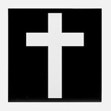 White Cross Tile Coaster