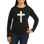 White Cross Women's Long Sleeve Dark T-Shirt