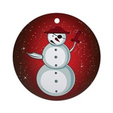 Xmas Snowman Pirate Ornament (Round)