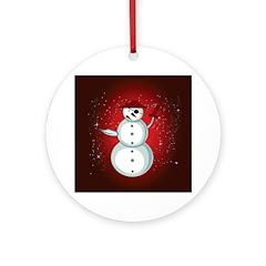 Xmas Snowman Pirate Ornament (Round)