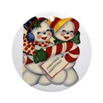 Vintage Christmas Ornaments Ornament (Round)