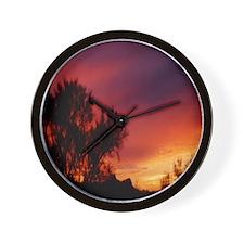 Tree Silhouette Sunset Wall Clock
