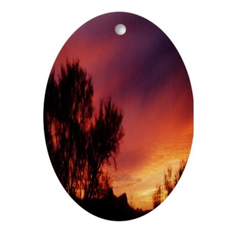 Tree Silhouette Sunset Oval Ornament
